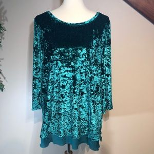 Jodifl Size Large Velvet Party Blouse
